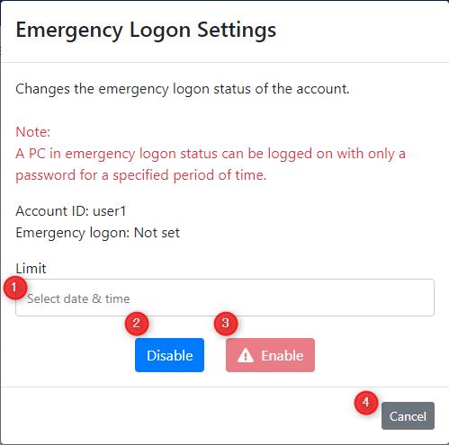 Emergency Logon Settings